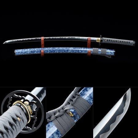 Handmade High Manganese Steel Black Blade Real Japanese Samurai Katana Swords With Blue Scabbard