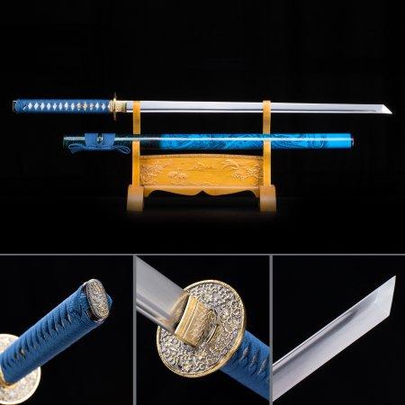 Handmade High Manganese Steel Straight Blade Chokuto Japanese Ninjato Ninja Sword With Blue Scabbard
