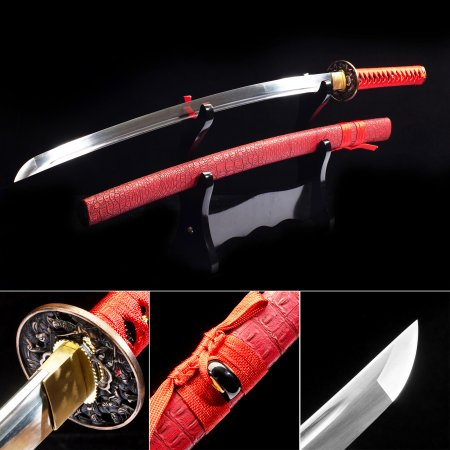 Handmade High Manganese Steel Japanese Katana Samurai Swords With Red Scabbard And Copper Tsuba