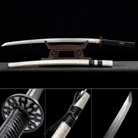 Folded Pattern Steel White Saya Full Tang Real Japanese Katana Samurai Swords