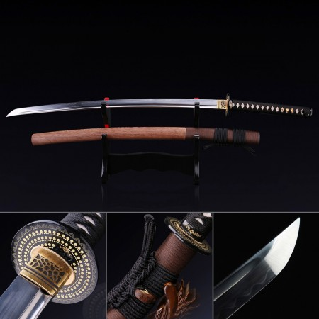 Full Tang Sword, Handmade Japanese Samurai Sword T10 Folded Clay Tempered Steel With Brown Scabbard