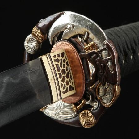 Handmade Gilt Guan Yu Tsuba Real Katana Japanese Samurai Swords