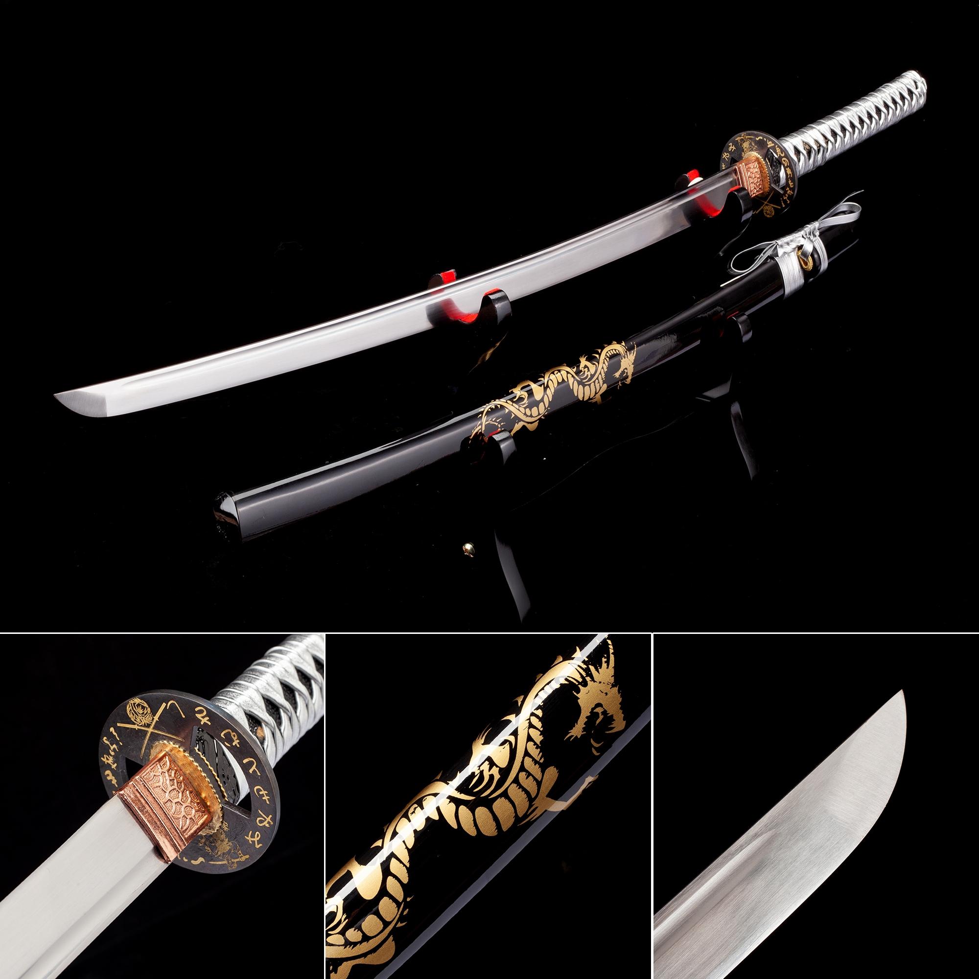 Handmade Japanese Samurai Sword High Manganese Steel With Dragon Theme Scabbard And Silver Handle