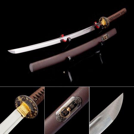 Handmade High Manganese Real Japanese Katana Samurai Swords With Brown Scabbard