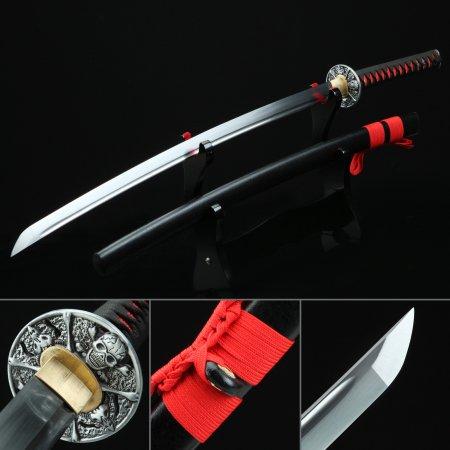 Skull Tsuba Manganese Steel Black Katana Real Japanese Samurai Swords