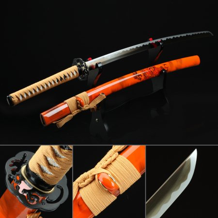 Handmade Spring Steel Sharpening Real Japanese Katana Samurai Sword With Red Scabbard