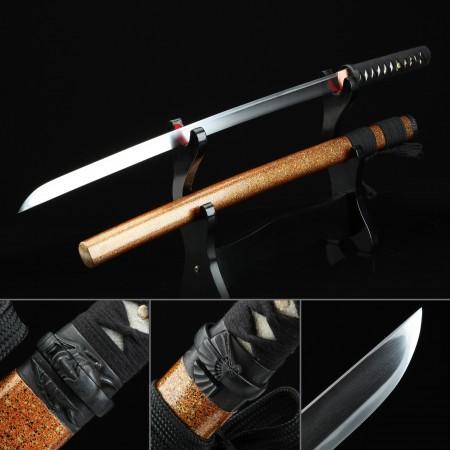 Handmade High-performance Tamahagane Steel Real Japanese Ninjato Ninja Sword With Orange Scabbard