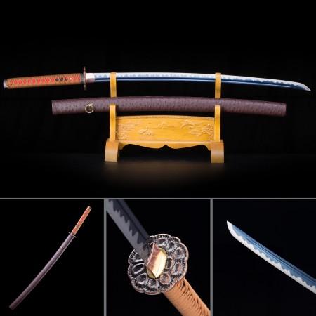Handmade High Manganese Steel Blue Blade With Brown Saya Real Japanese Katana Samurai Swords