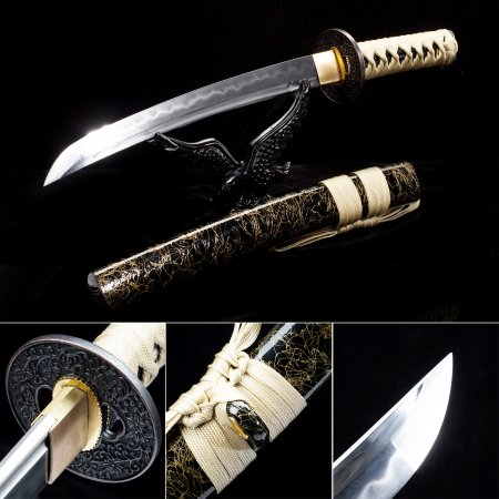 Handmade T10 Carbon Steel Real Hamon Sharpening Japanese Tanto Swords With Black Scabbard