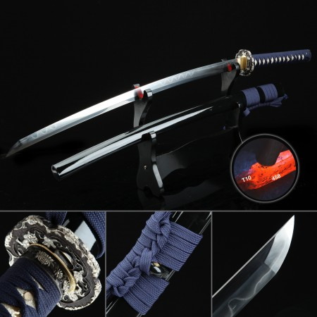 Battle Ready Katana, Authentic Japanese Sword T10 Carbon Steel Hand Forge Sturdy Tactical Swords