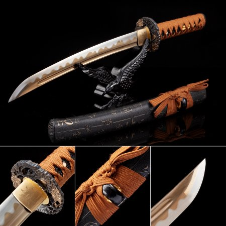 Handmade High Manganese Steel Gold Blade Real Japanese Tanto Sword With Black Scabbard