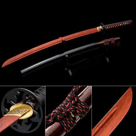 Handmade Rosewood Wooden Blunt Unsharpened Blade Katana Samurai Sword With Black Scabbard