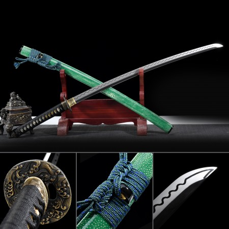 Handmade High-performance Damascus Steel Hand Sharpening Real Ray-skin Saya Japanese Katana