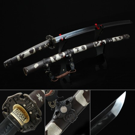Battle Ready Sword, Authentic Japanese Katana Pattern Steel Hand Forge Full Tang Tactical Swords
