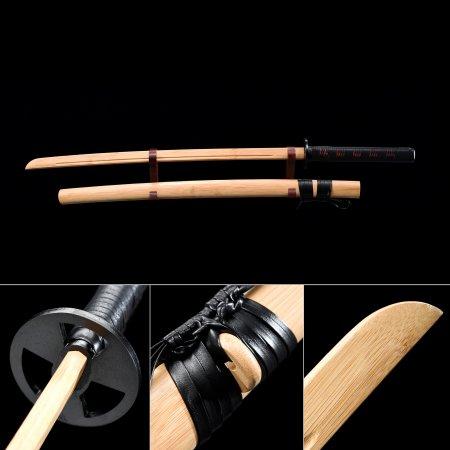 Handmade Natural Bamboo Wooden Blunt Unsharpened Blade Katana Samurai Swords With Natural Scabbard
