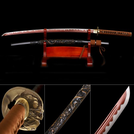 Handmade High Manganese Steel Red Blade And Monk Tsuba Real Katana Samurai Swords