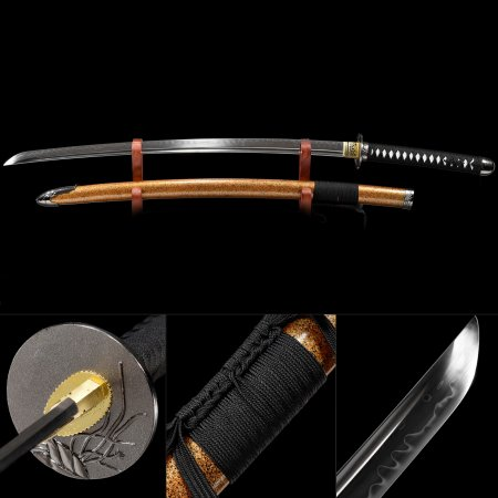 Handmade T10 Carbon Steel Real Hamon Japanese Samurai Katana Sword With Multi-colored Scabbard