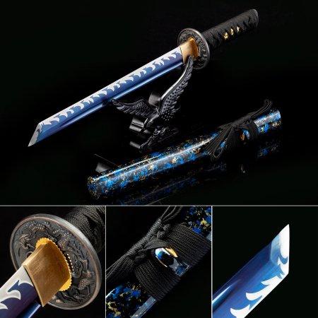 Handmade High Manganese Steel Real Short Ninjato Japanese Hamidashi Tanto Swords With Crane Tsuba