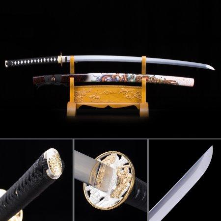 Handmade Japanese Samurai Sword High Manganese Steel With Tiger Theme Scabbard