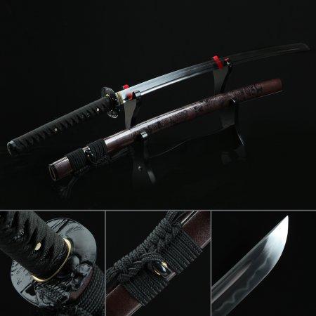 Handmade T10 Carbon Steel Real Hamon Japanese Katana Samurai Sword With Brown Scabbard