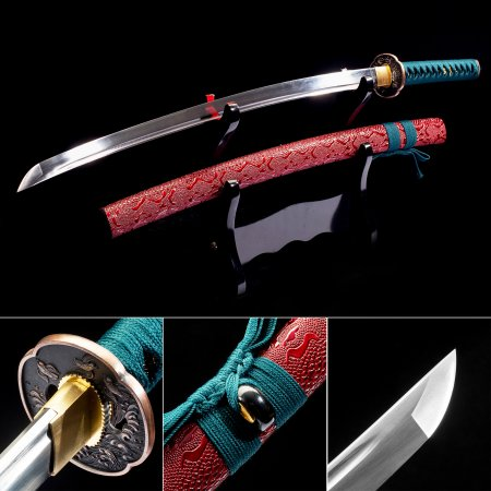 Handmade Japanese Sword High Manganese Steel With Red Scabbard And Copper Tsuba