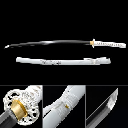 Handmade Japanese Katana Sword Pattern Steel With White Scabbard