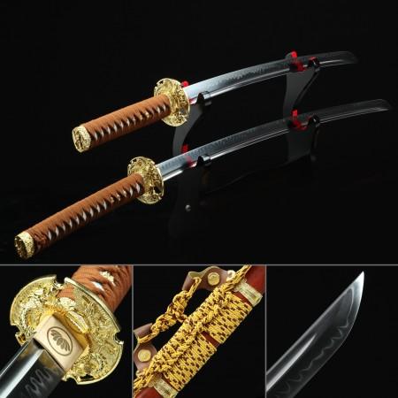 Daisho Set, Katana Sword Set - Real Hamon Katana& Wakizashi Sword With Rosewood Scabbard