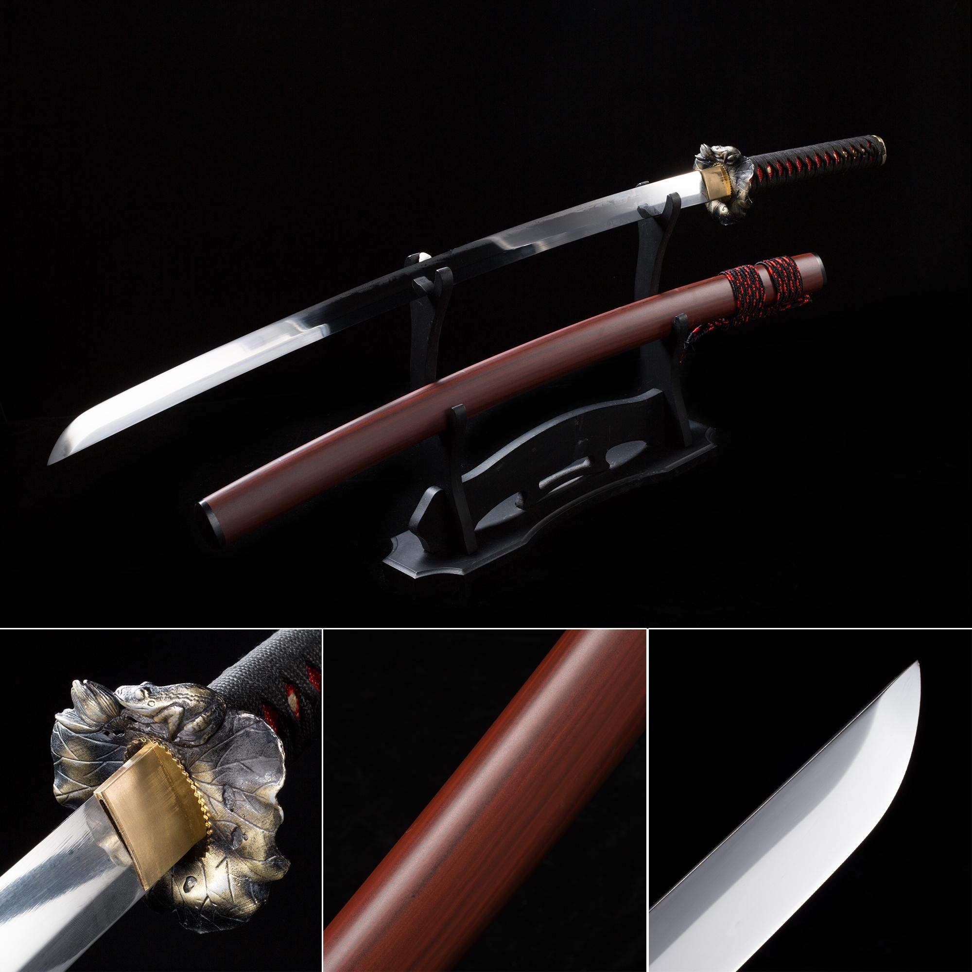 Handmade High Manganese Steel Leaf Tsuba Real Japanese Samurai Katana Sword With Red Scabbard