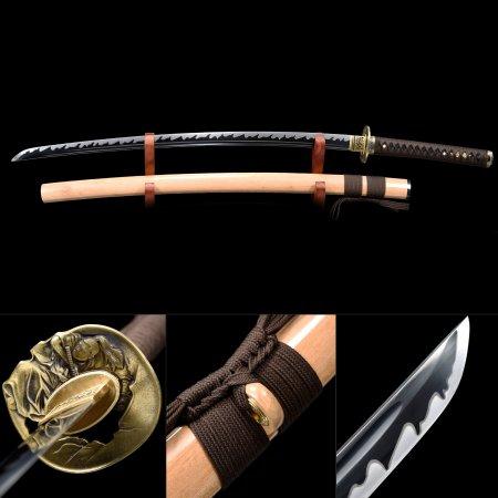 Handmade High Manganese Steel Black Blade Real Japanese Samurai Katana Sword With Natural Scabbard