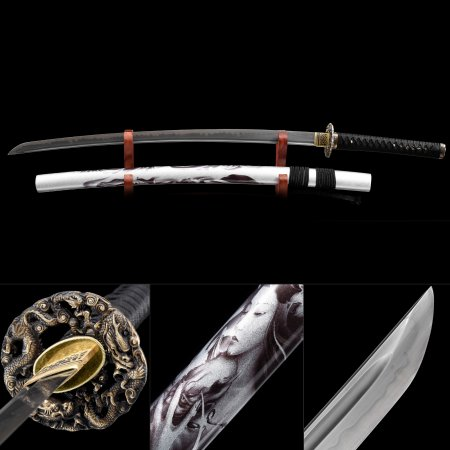 Battle Ready Sword, Handmade Japanese Sword T10 Folded Clay Tempered Steel Blade With White Scabbard