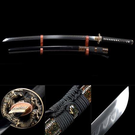 Handmade T10 Carbon Steel Authentic Hamon Japanese Samurai Katana Swords With Black Scabbard