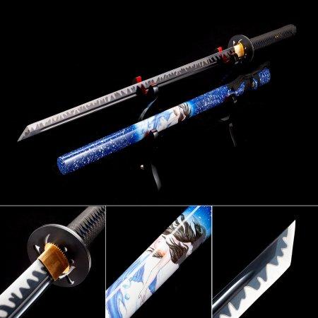 Handmade High Manganese Steel Black Blade Japanese Ninjato Ninja Swords With Red Scabbard