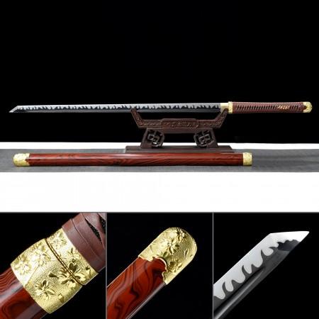 Handmade High Manganese Steel Full Tang Real Japanese No Guard Ninjato Ninja Sword With Red Scabbard