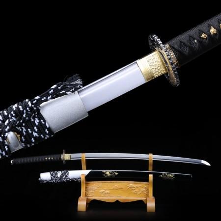 Handmade Real 1060 Steel Crane Tsuba Carving Saya Katana Japanese Samurai Swords