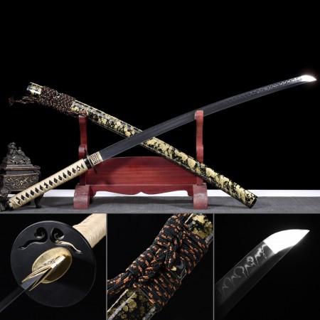 Gold Granite Theme Carbon Steel Real Japanese Katana Samurai Swords