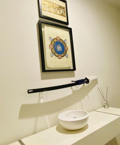 Handmade Manganese Steel Blue Blade Tsushima Ghost Clan Sakai Katana Swords Cosplay Replica