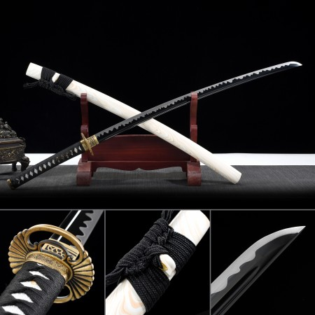 Handmade 1065 Carbon Steel Full Tang Real Japanese Katana Swmurai Sword With White Scabbard
