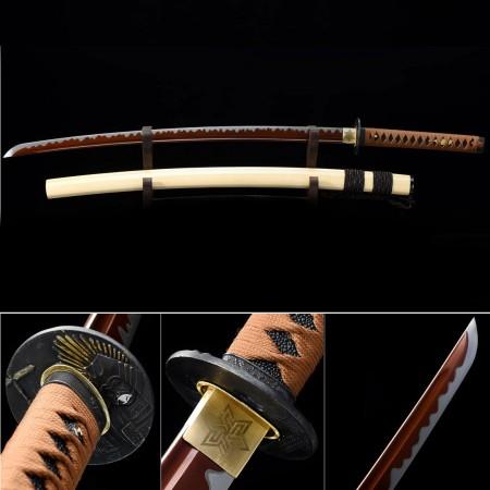 Handmade High Manganese Steel Red Blade And Tower Tsuba Theme Real Japanese Katana Samurai Swords