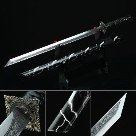 High Manganese Steel Straight Blade Chokuto Japanese Ninjato Ninja Sword With Black Scabbard