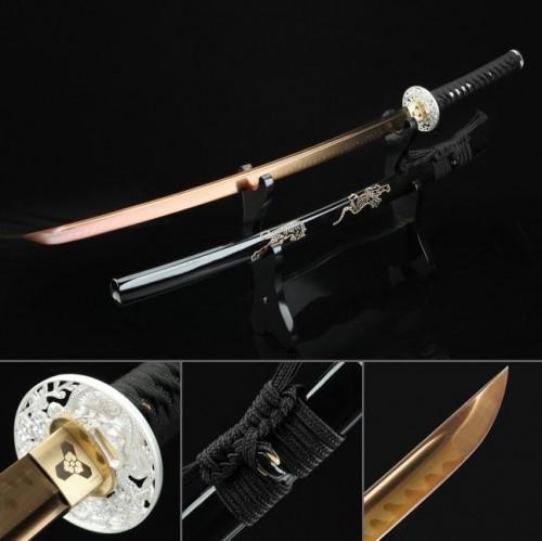 Handmade T10 Steel Rose Gold Blade Tiger Saya And Silver Dragon Tsuba Theme Real Hamon Katana