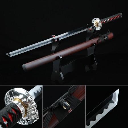 Handmade High Manganese Steel Monk Tsuba Theme Real Japanese Ninjato Ninja Sword With Brown Scabbard