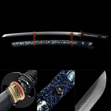 Handmade Pattern Steel Real Hamon Japanese Katana Samurai Sword With Multi-colored Scabbard