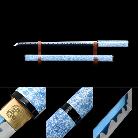 Handmade Blue Balde Japanese Shirasaya Ninjato Shikomizue Blind Fury Stick Swords Without Tsuba