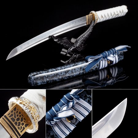 Handmade T10 Carbon Steel Real Hamon Japanese Tanto Sword With Blue Scabbard